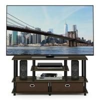 Furinno JAYA Large TV Stand for up to 55-Inch TV with Storage Bin, Columbia Walnut/Black/Dark Brown