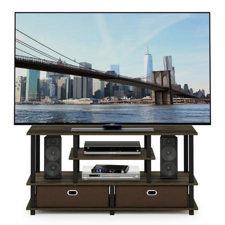 Furinno JAYA Large TV Stand for up to 50-Inch TV with Storage Bin, Columbia Walnut/Black/Dark Brown (Tobacco Brown Tv Stand)