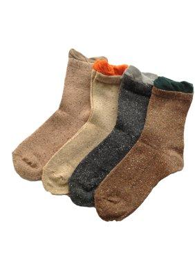 Lian LifeStyle Women's 4 Pairs Cotton Crew Socks Dots Size 6-9 4 Color