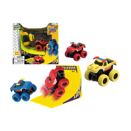 Mozlly Mozlly Friction Big Monster Trucks Super Power Stunt Mini Machine Stadium Arena Set Play Toy with 360 Backflip Ramp Giant Die-Cast Vehicles Ideal Gift Toys Games Play-set 7.75 Inch (2pc Set)