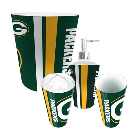 Green bay packers nfl complete bathroom accessories 4pc for Complete bathroom accessories sets