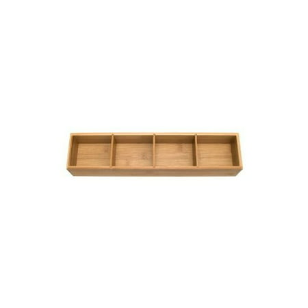 Lipper International Bamboo Drawer Organizer With 3 Removable Dividers Brown Multi Colored