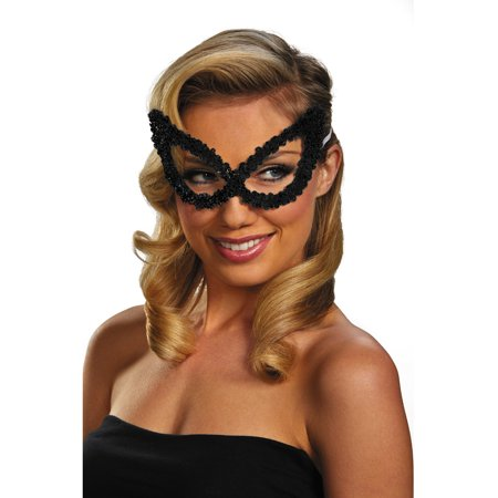 Black Mask Costume (Adult Black Masquerade Ball Costume Accessory Elegant Large Sequin)