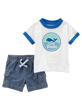 53cecc73ca Product Image Carter's Baby Boys' 2-Piece Slub Jersey Tee & Chambray ...