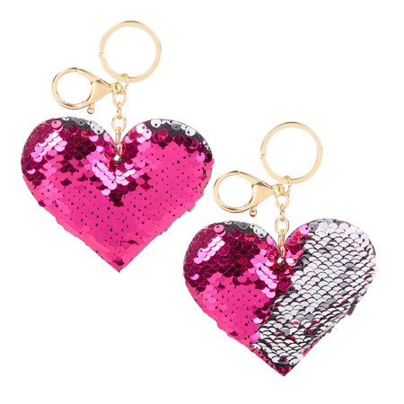 The Toy Network Rhode Island Novelty Flip Sequin Plush Hot Pink Silver Magical Heart Keychain Fashion