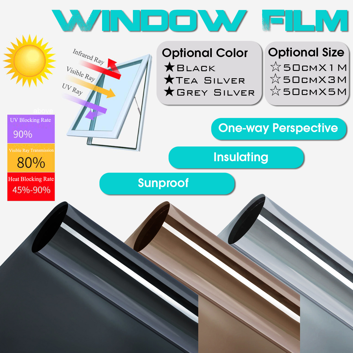 DIY Window Tint One Way Mirror Film UV Heat Reflective Home Office Privacy Black