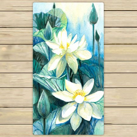 Phfzk Oil Painting Floral Towel White Lotus Flower Hand Towel Bath