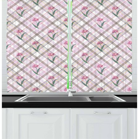 - Checkered Curtains 2 Panels Set, Diagonal Striped Design with Delicate Gentle Flower Figures Feminine, Window Drapes for Living Room Bedroom, 55W X 39L Inches, Mauve Pink Forest Green, by Ambesonne