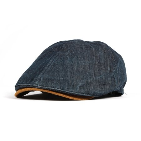 WITHMOONS Denim Newsboy Hat faux leather brim Flat Cap SL3017 (Darkblue) -  Walmart.com fa415b42ab4d