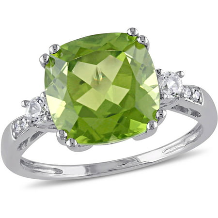 Tangelo 5-2/5 Carat T.G.W. Peridot and Created White Sapphire with Diamond-Accent 10kt White Gold Cocktail Ring