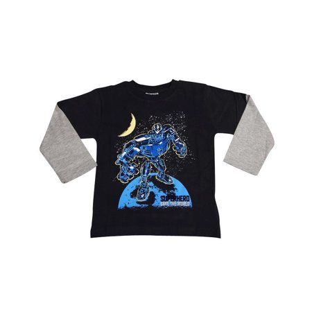 Mish Toddler & Little Boys Long Sleeve Graphic Tee Shirt Top Many Colors SZ 2-7, 34503 BLACK SAVE THE WORLD / 3 Boys Urban High Top