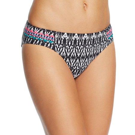 Ella Moss Womens Textured Hip Printed Swim Bottom Separates Black M ()