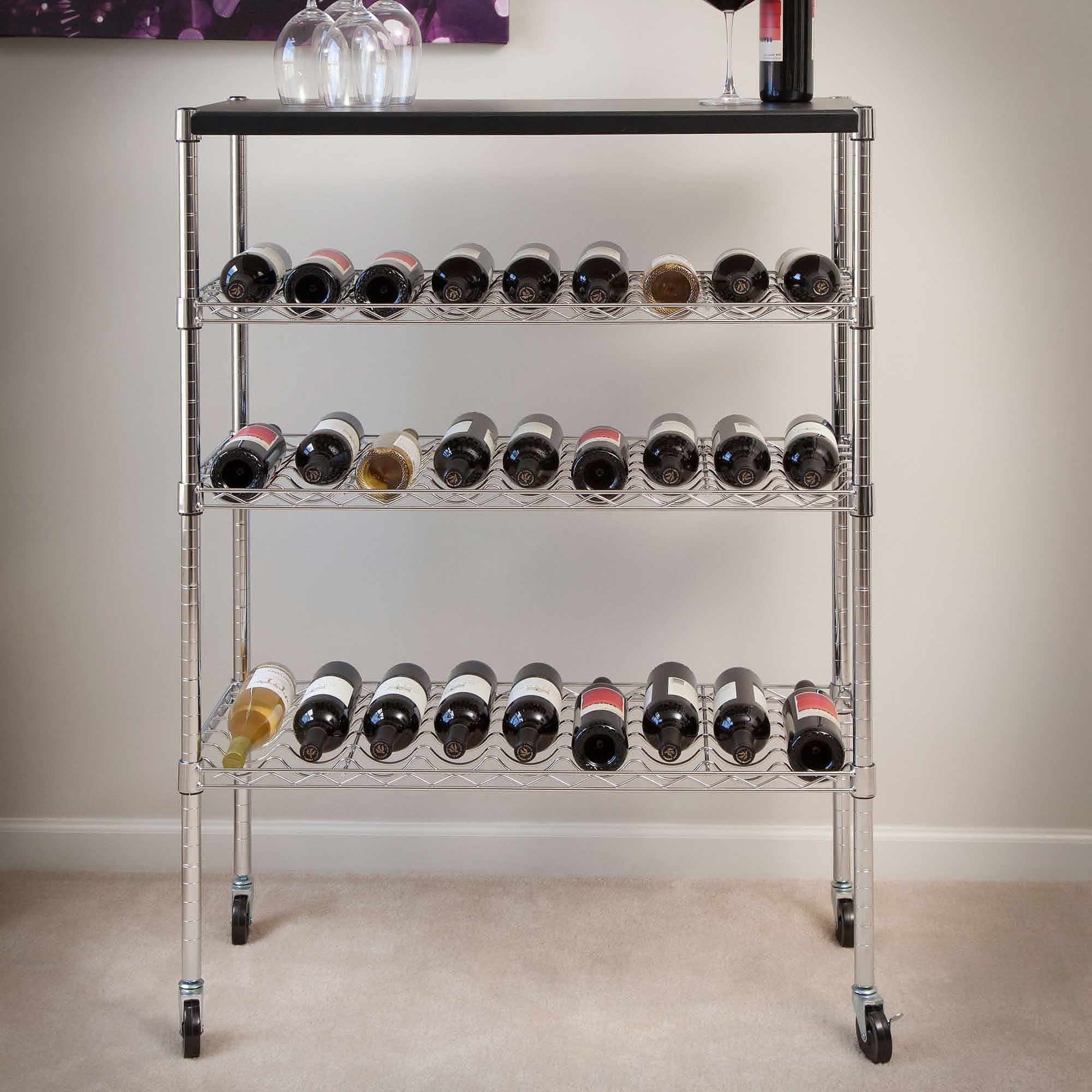 Lavish Home Rolling Chrome Wine Rack Cart Portable Bar by Trademark Global LLC