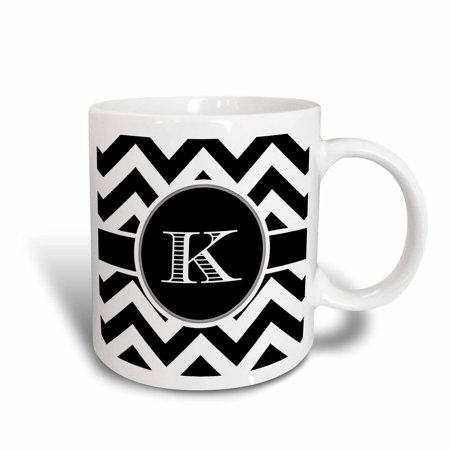 3dRose Black and white chevron monogram initial K - Ceramic Mug, 11-ounce](Monogrammed Cups)