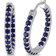 3-3/5 Carat T.G.W. Created Blue Sapphire Sterling Silver Clip-In Hoop Earnings