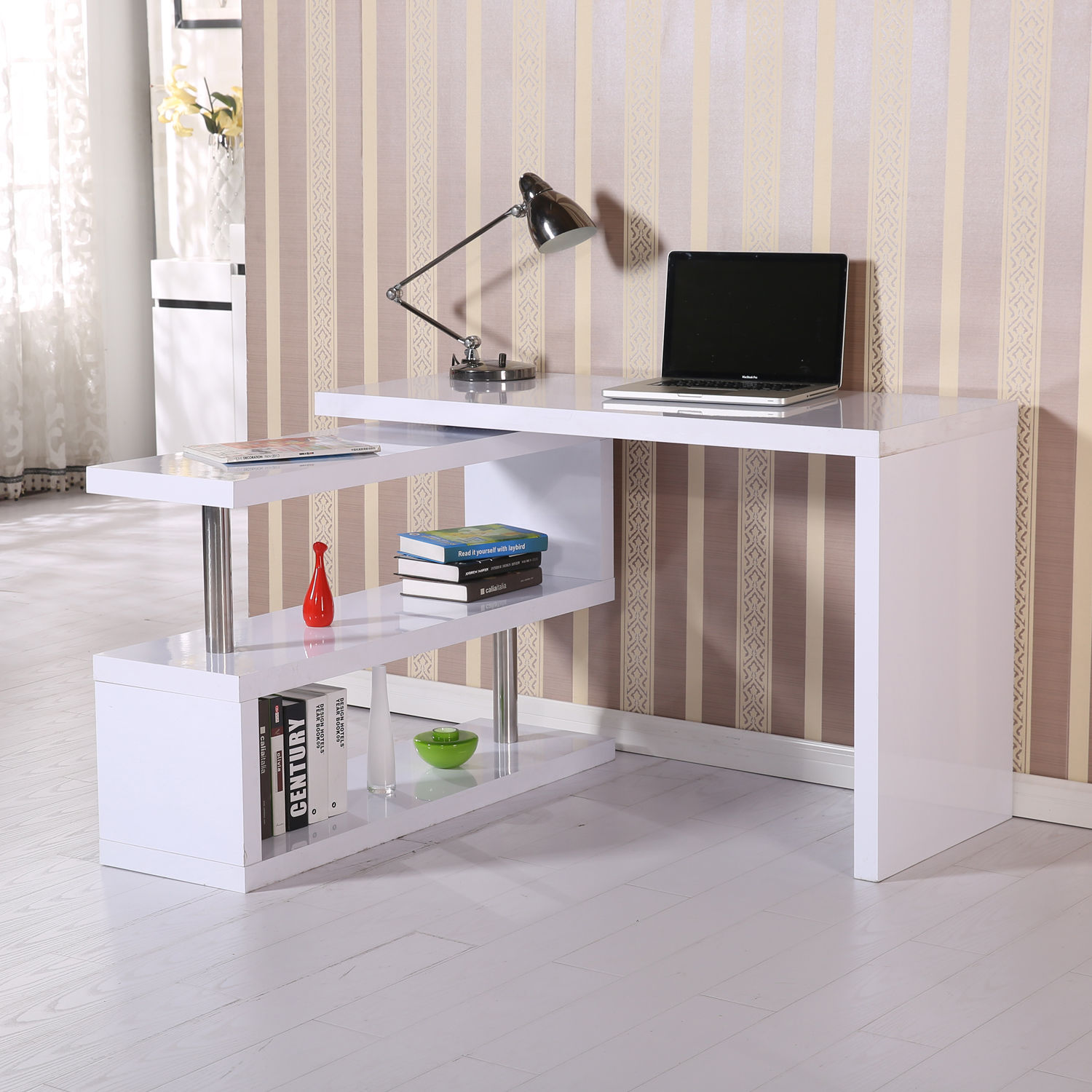 HomCom 360 Degree Rotating Office Desk and Shelf Combo - White