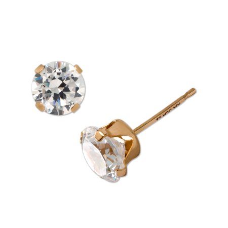 Brilliance Fine Jewelry 10kt Yellow Gold 4mm Round CZ Stud (Zirconium Round Earring)