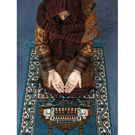 Muslim Woman Kneeling on Prayer Mat Saying Prayers, Jordan, Middle East Print Wall Art