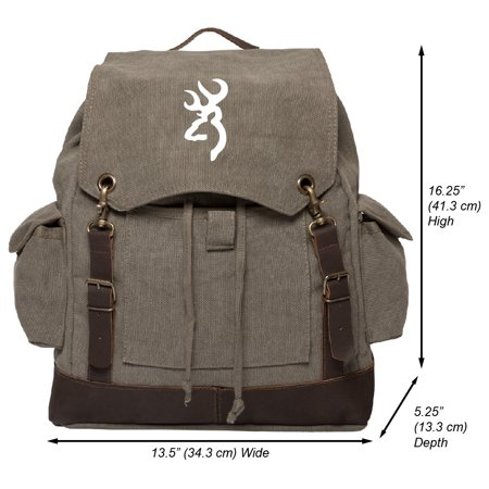 Browning Logo Hunting Vintage Canvas Rucksack Backpack with Leather