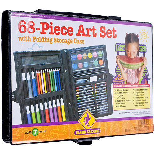 Banana Crossing 68-Piece Art Set with Folding Storage Case