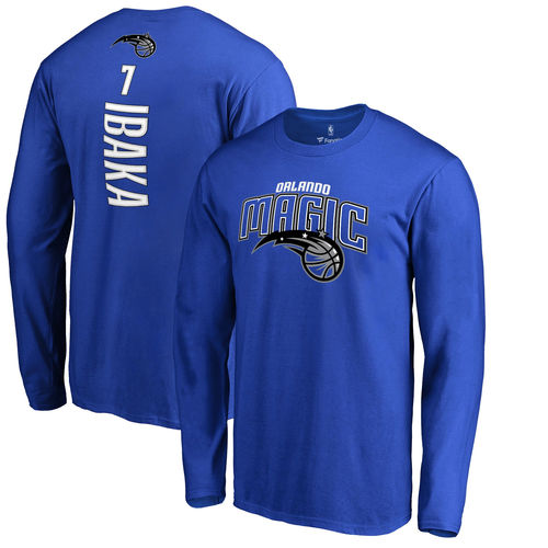 Men's Fanatics Branded Serge Ibaka Blue Orlando Magic Backer Name & Number Long Sleeve T-Shirt