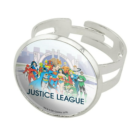Justice League Hall of Justice Silver Plated Adjustable Novelty Ring Hall Of Fame Ring