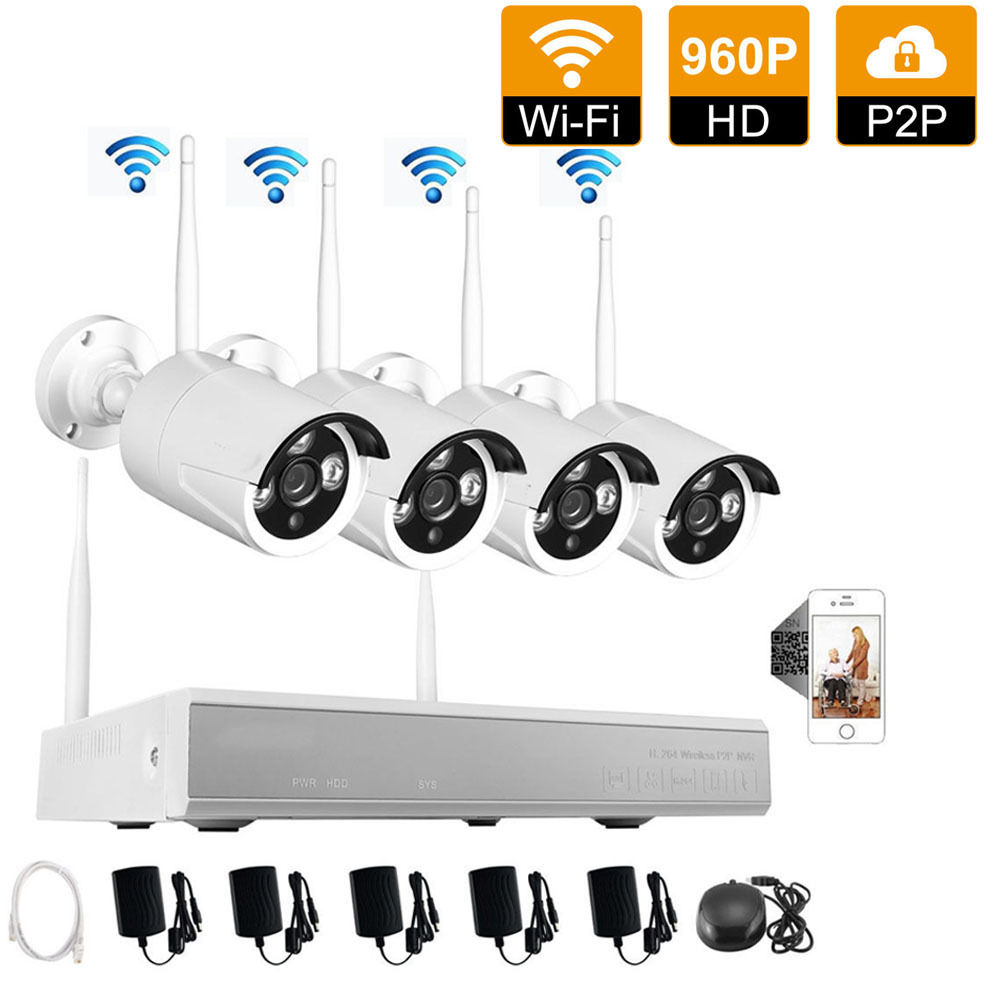 Ktaxon 4PCS Wireless WIFI 960P 1.3MP Outdoor Camera 4CH NVR CCTV Video Home Security Camera System Without Hard Drive