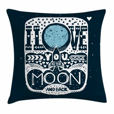I Love You Throw Pillow Cushion Cover, Space Galaxy Style Romantic Message with Stars and Arrow Effects Hand Drawn, Decorative Square Accent Pillow Case, 18 X 18 Inches, Dark Blue White, by Ambesonne