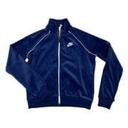 Nike Sportswear Womens Velour Standard Fit Jacket Black/Blue CJ4912-492 New (Blue,L)