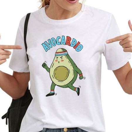 KABOER Women Fashion Casual Funny Avocado Print Shirt Summer Solid Color Short Sleeves T Shirt
