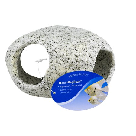 "Penn-Plax Deco-Replicas Aquarium Ornament Round Stone Hideaway Large 4"", 1.0 CT"