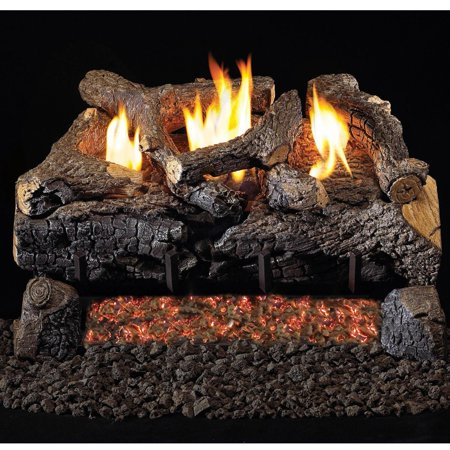 Peterson Real Fyre 24-inch Evening Fyre Charred Log Set With Vent-free Natural Gas Ansi Certified G18 Burner - Manual Safety Pilot