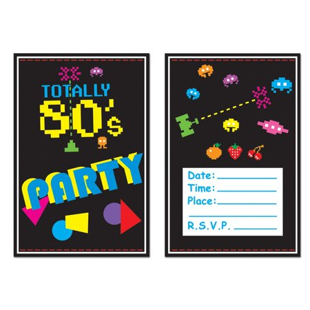 Club Pack of 96 Black and Multi Colored 80's Invitations 5.5