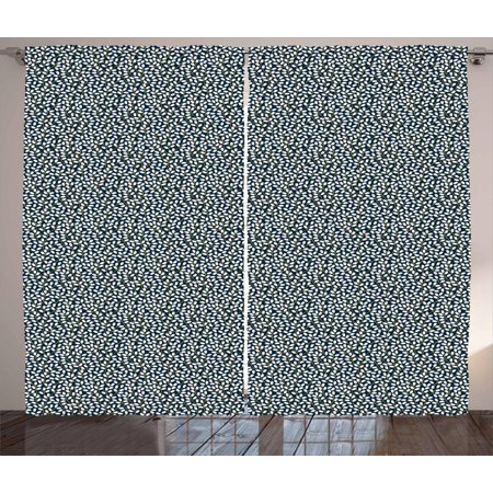 Spring Curtains 2 Panels Set, Flourishing Nature Branches Full of Flowers on Dark Blue Background, Window Drapes for Living Room Bedroom, 108W X 108L Inches, Dark Blue Coral Yellow, by