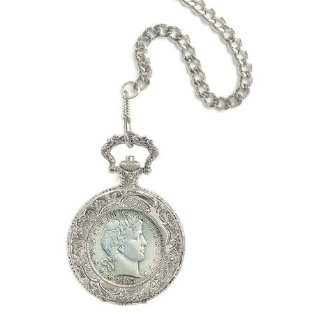 Silver Barber Half Dollar Coin Pocket Watch