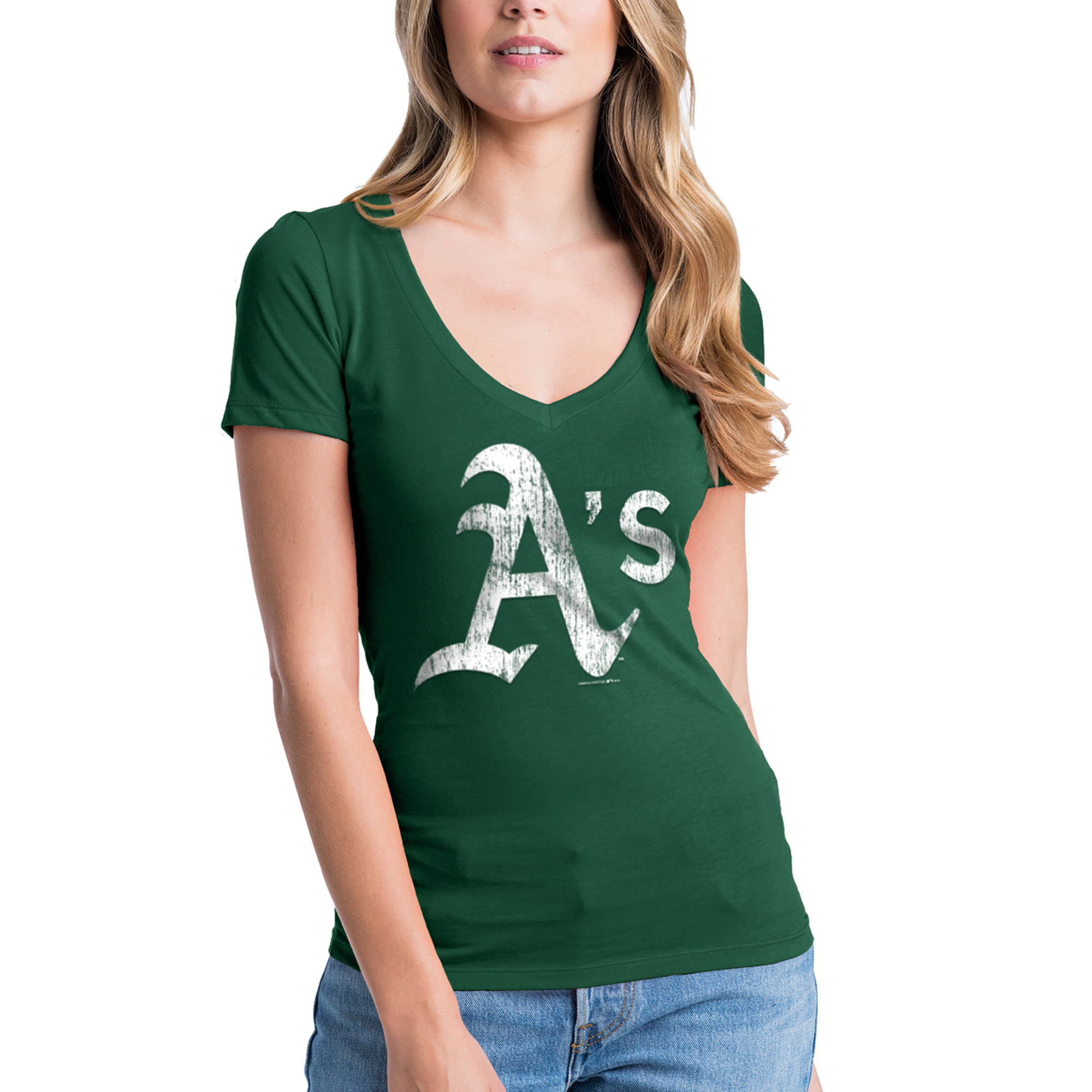 Oakland Athletics New Era Women's V-Neck T-Shirt - Green