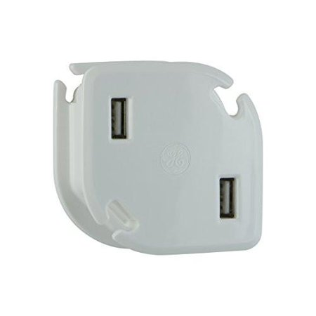 GE Multi-Port USB Wall Charger for Home & Travel 2 USB Ports 2.4A / 12W Folding Prongs with Built-In Cable Management