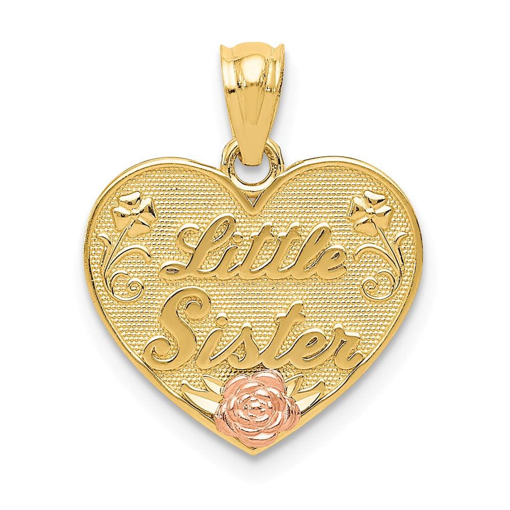 14k Two-Tone Gold Rhodium Little Sister Heart Pendant