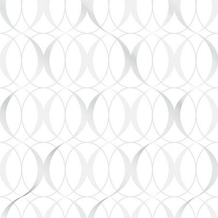 NuWallpaper Circulate Light Silver Peel & Stick Wallpaper ()