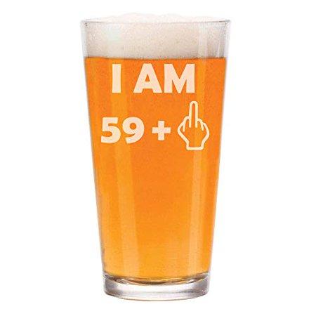 16 oz Beer Pint Glass 60th Birthday I Am 59 Plus (Plum Beer)