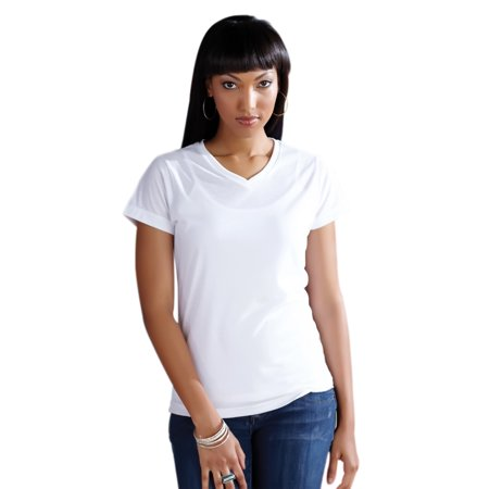 Wholesale Blank Cloths Ladies V-Neck Polyester Sublimation T Shirt - White](Skirt Wholesale)