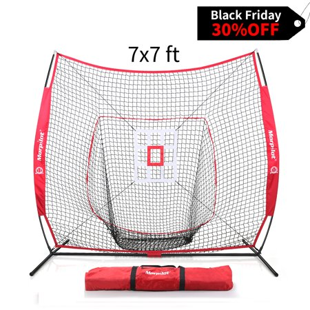 Morpilot 7x7 Baseball & Softball Hitting, Pitching, Batting and Catching Net, With Carry Bag, Strike Zone Target, 3 Weighted Balls ()
