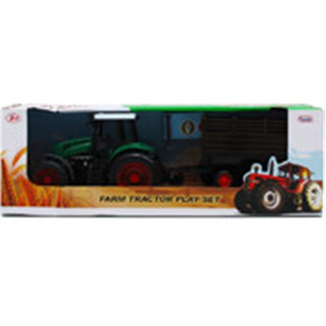 DDI 1997811 9 in. Farm Tractor Toy with Wagon Green & Brown by DDI