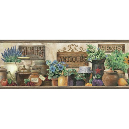 Brewster Home Fashions Borders by Chesapeake March  Antique Herbs Portrait 15' x 6'' Food 3D Embossed Border (Antique Wallpaper)