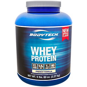 BodyTech Whey Protein Powder  With 17 Grams of Protein per Serving  Amino Acids  Ideal for PostWorkout Muscle Building, Contains Milk  Soy  Vanilla (5 Pound)