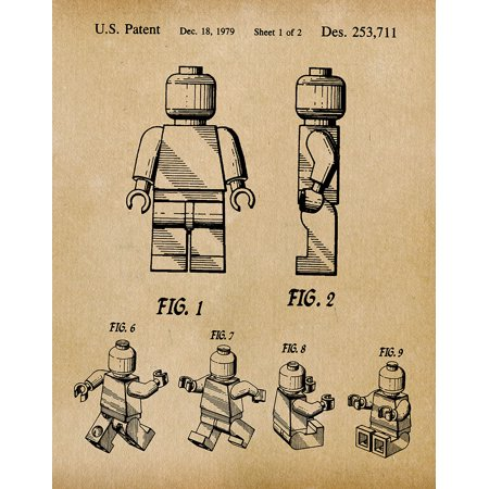 Logo Wall Decor - Original Lego Man Artwork Submitted In 1979 - Toys and Games - Patent Art Print