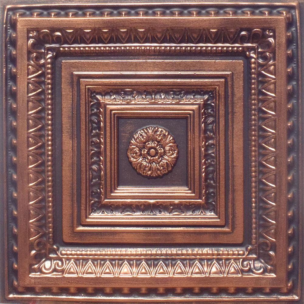Brilliance Antique Copper Black PVC Ceiling Tiles for Drop in Grid System (10 pack)