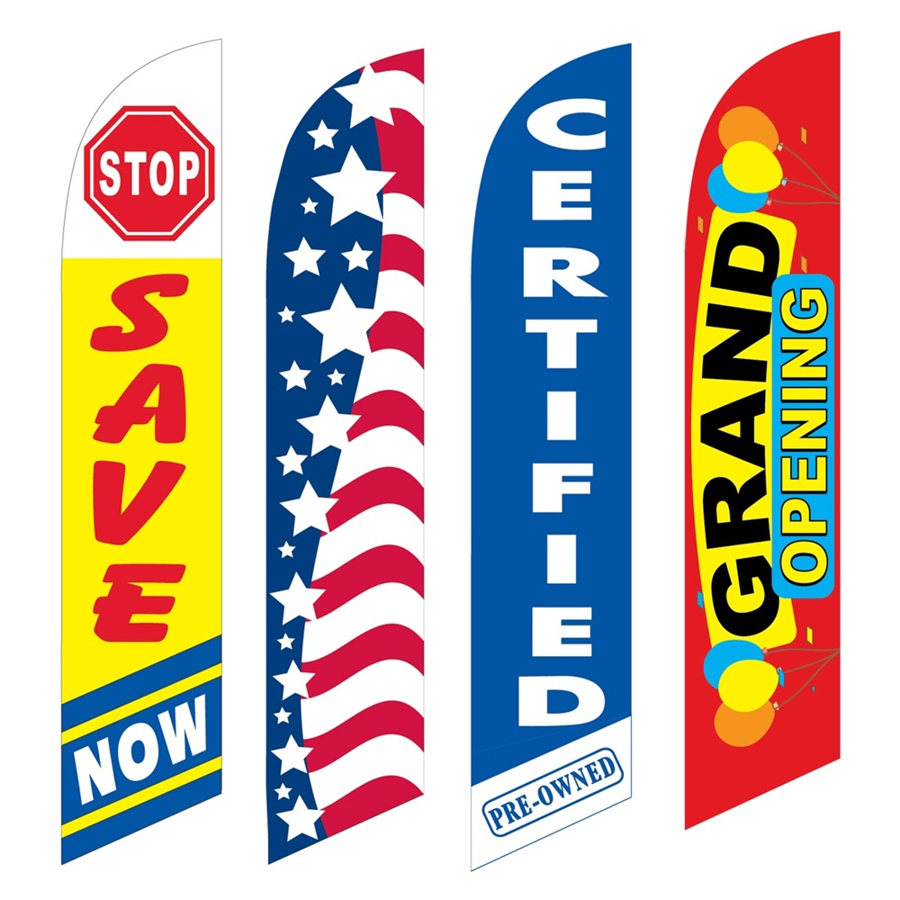 4 Advertising Swooper Flags Save Now Patriotic Certified Pre Owned Grand Opening
