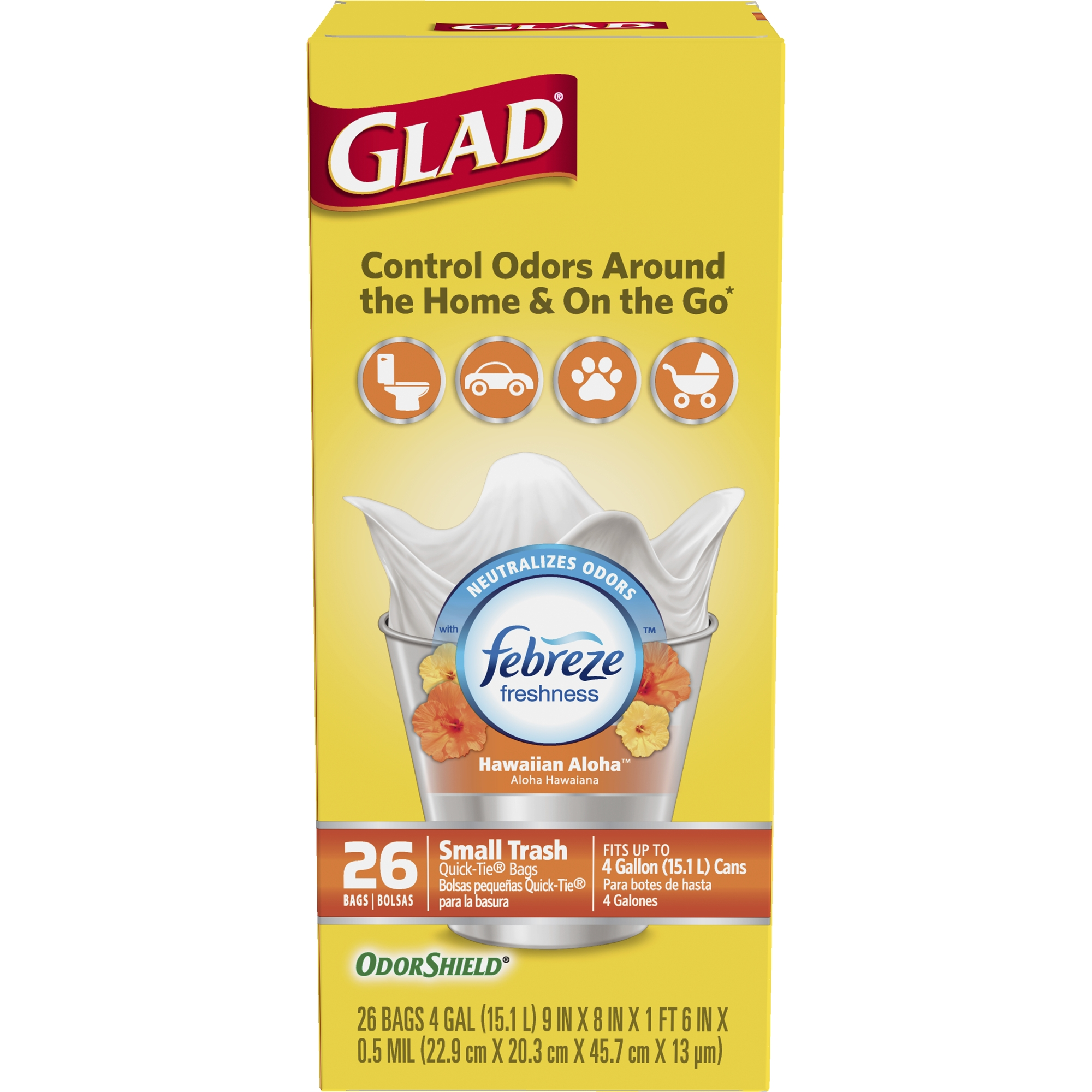 Glad OdorShield Small Trash Bags, Febreze Hawaiian Aloha, 4 gal, 26 ct