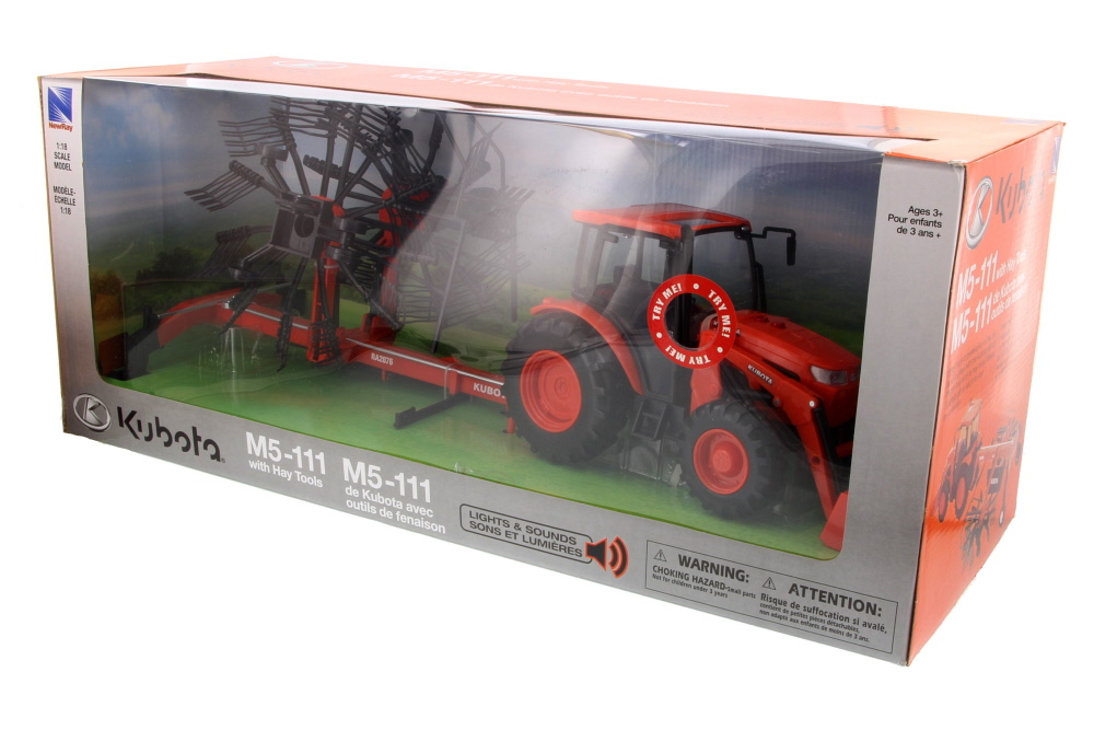 Kubota MS-111 w  Rake, Orange New Ray SS-33043 1 18 Scale Model Farm Vehicle by New Ray